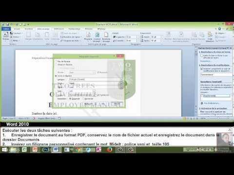 EXAMEN MOS Word 2010 EXP V 2 Correction