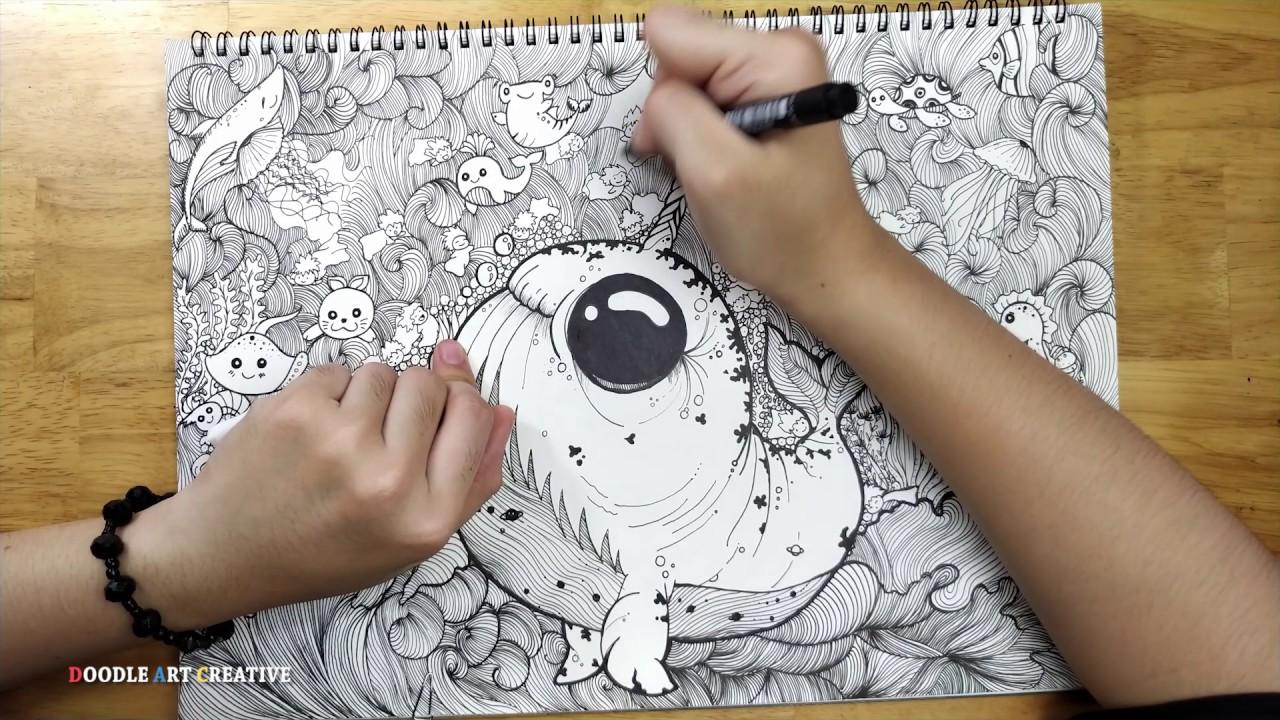 Cá voi xanh (Blue whale) | 010 Doodle Art Creative