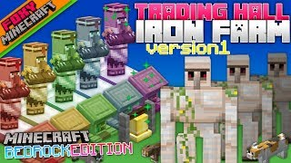 TRADING HALL IRON FARM | Tutorial Guide | Minecraft Bedrock Edition Iron Farm Help (MCBE)