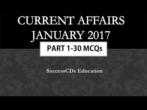 Latest GK and Current Affairs January 2017 MCQs Part 1 with Answers