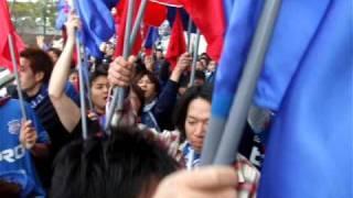 対岐阜戦前に行われた決起集会の様子。