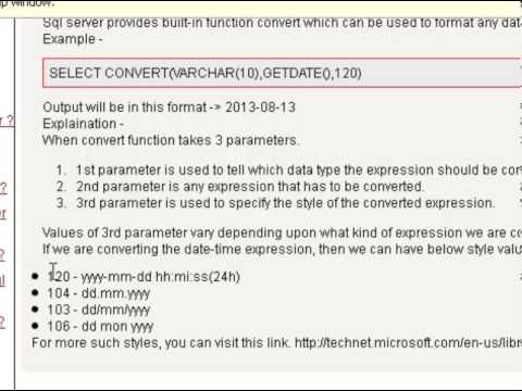 How to convert the date in yyyy mm dd format in sql server - YouTube - sql convert