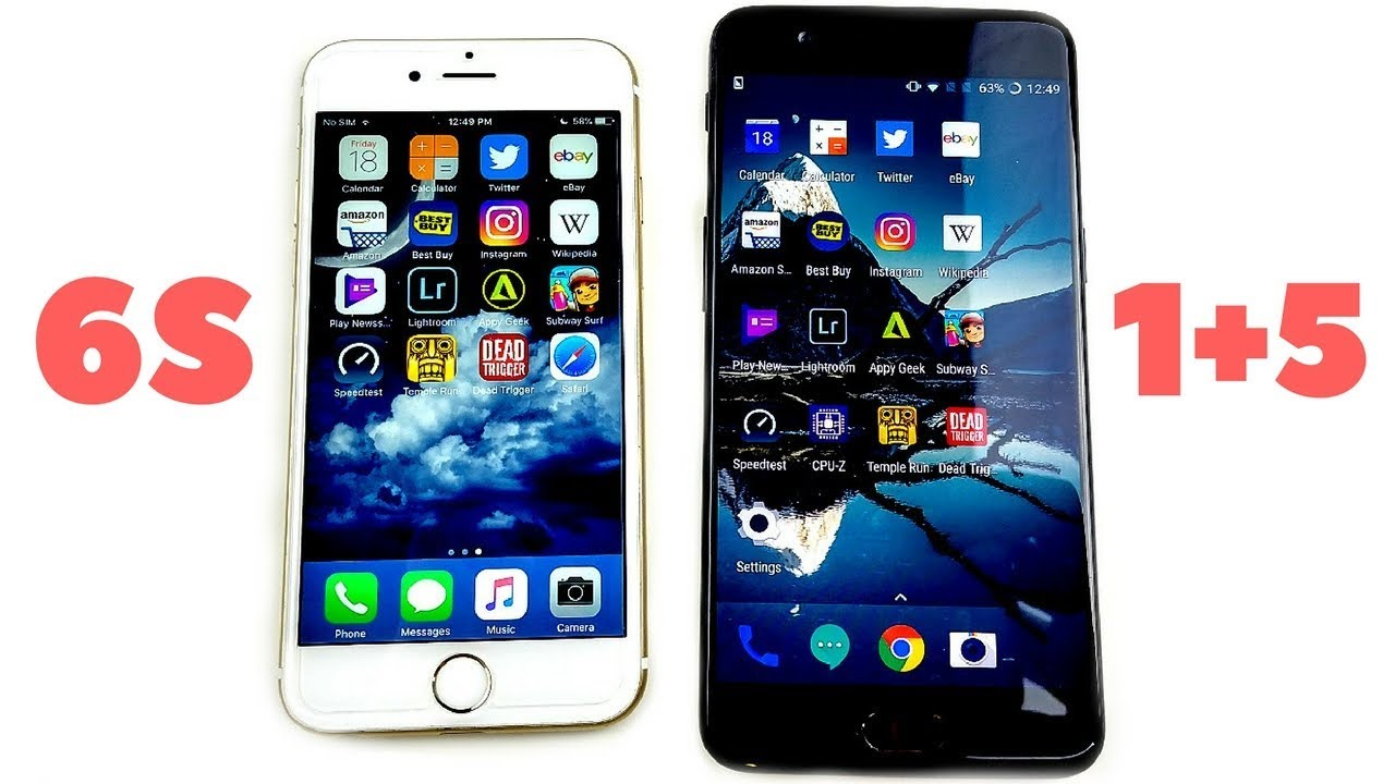 iphone 6 vs 5 iphone 6s vs oneplus 5 speed test 15110