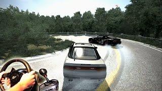 multiplayer / online drifting fun - Akagi Mountain Pass, Nissan 240sx LS3. Steering Wheel gameplay