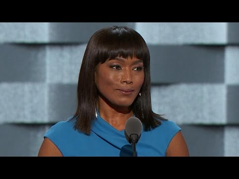 Actress and director Angela Bassett speaks at the DNC