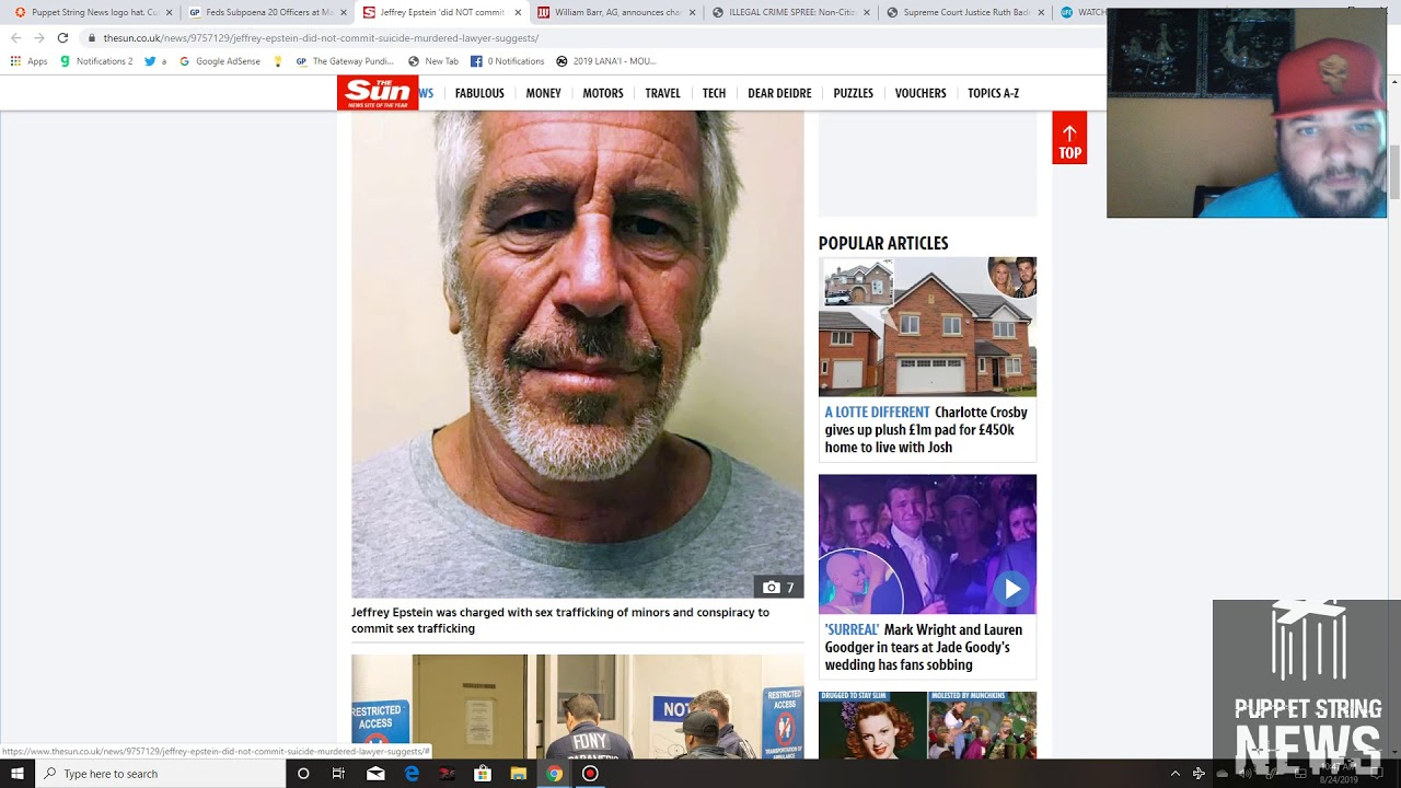 Puppet String News Lawyer has evidence Jeffrey Epstein murdered, 64% of Federal crimes committed by