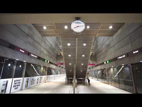Denmark, Copenhagen, Forum subway station, elevator ride down to platform level