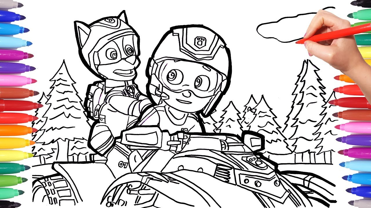 paw patrol ryder and chase on the rescue atv coloring