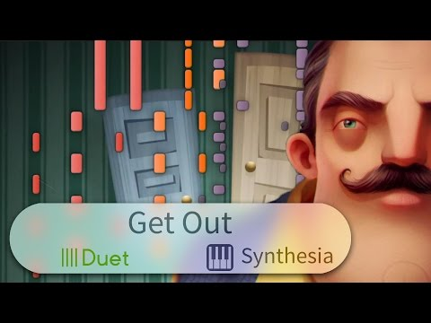 Get Out (Hello Neighbor Song) - DA Games -  DUET PIANO REMIX w/LYRICS  -- Synthesia HD