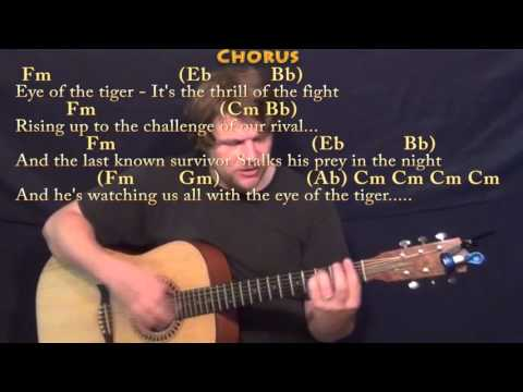 Eye of the Tiger (Survivor) Strum Guitar Cover Lesson in Cm with Chords/Lyrics