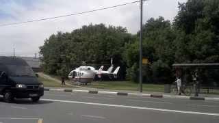 на ДТП прилетел вертолёт МЧС(Москва вертолёт МЧС., 2014-06-06T12:27:08.000Z)