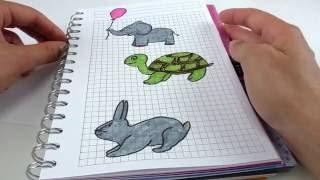 Malen mit Kathi | Bilder gestalten im Notizbuch oder Filofax | Hase Schildkröte Elefant