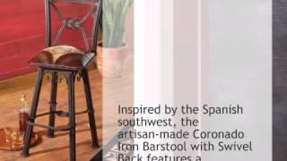 Coronado Iron Barstool With Swivel Back - Set Of 3 - Lonestarwesterndecor.com