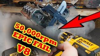 50,000rpm VS Haynes V8 Model Engine Catastrophic Failure - SMOKE