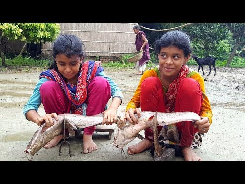 Catfish Cooking For Kids Picnic - Fish Cutting, Cleaning & Fish Curry Cooking By Children Of Village