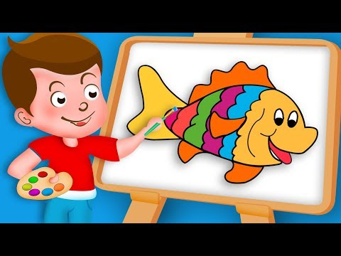 Drawing Fish Paint And Colouring For Kids   Kids Drawing TV