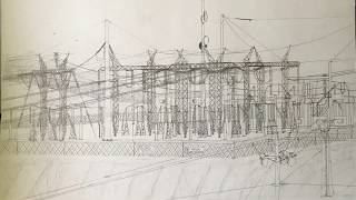 SOME OF MY WORK; Drawings of electric substations, telephone poles
