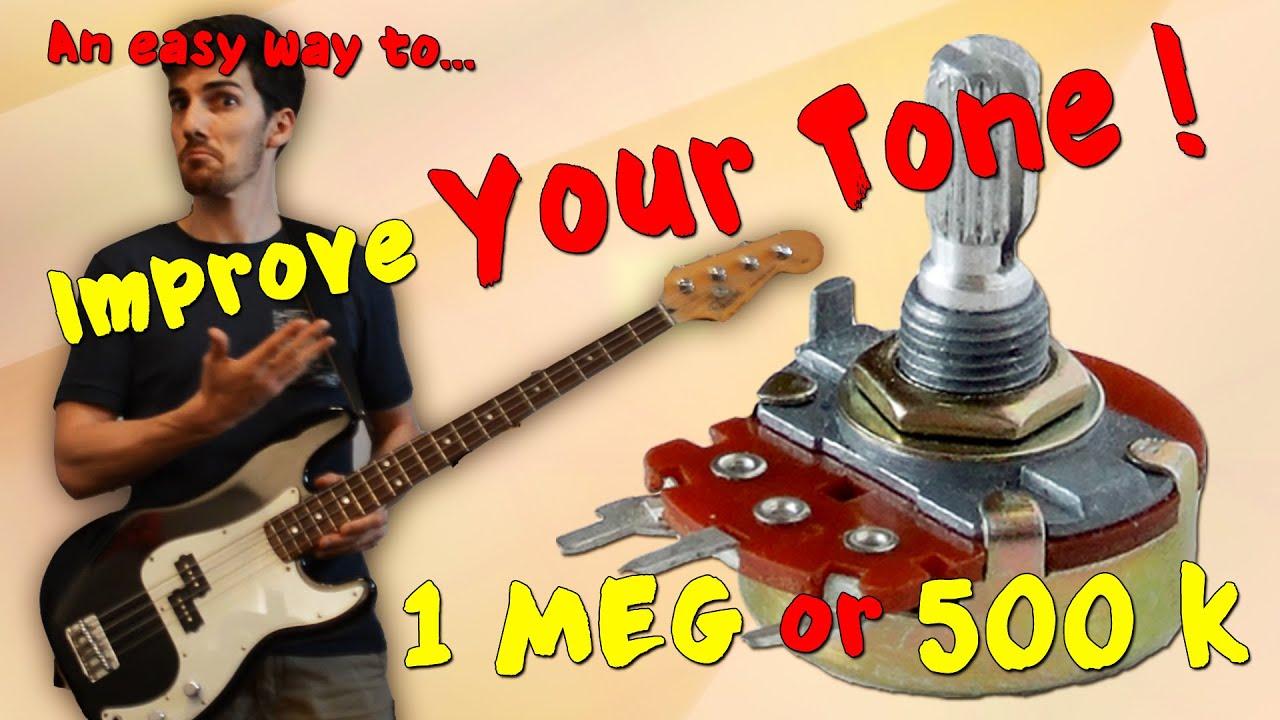 volume pots comparison on a precision bass - 1 meg vs 500 k - want 2 check