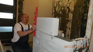 совмещение ванны и туалета ч.2 \Кладка стены\Штукатурка\Водопровод\короб