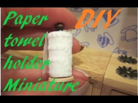 Paper towel holder miniature - DIY disposable towel dispenser for dollhouse