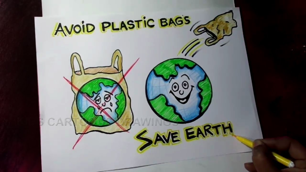 How to Draw Avoid Plastic Bags / Save Earth Poster Drawing for Kids