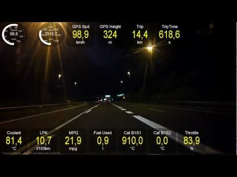 Test driving Opel Ampera with Torque data - evening ride on the highway - driving on a gas engine