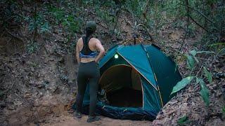 Solo Overnight Trip - Surטival Winter Camping in Rainforest - Living Alone