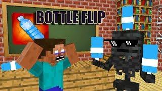 Monster School: BOTTLE FLIP CHALLENGE- Minecraft Animation