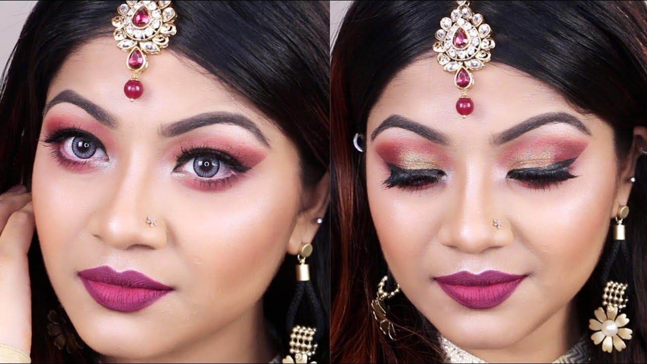 Indian Style Wedding Guest Makeup Tutorial 2018 - Party Makeup Tutorial   LINDA - YouTube