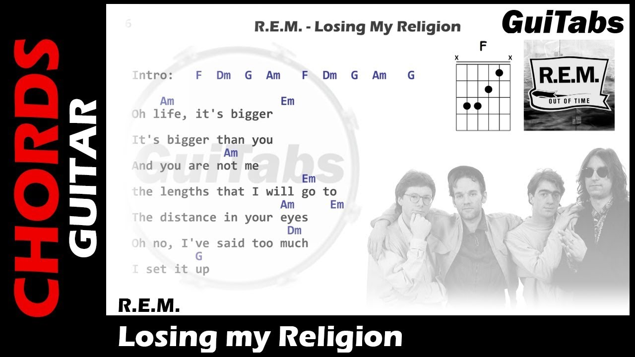Rem Losing My Religion Lyrics And Guitar Chords Youtube