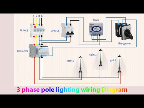 3 Phase Pole Lighting Wiring Diagram Light Manual Light Automatic Youtube
