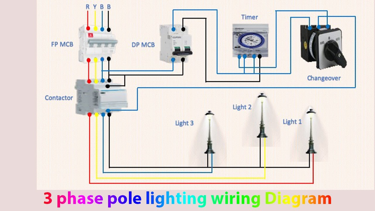 3 phase pole lighting wiring diagram | Light manual | Light automatic -  YouTube | 120vac Led Lights 3 Wire Diagram |  | YouTube