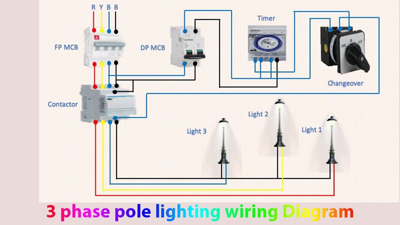 3 phase pole lighting wiring diagram   Light manual   Light automatic -  YouTube YouTube