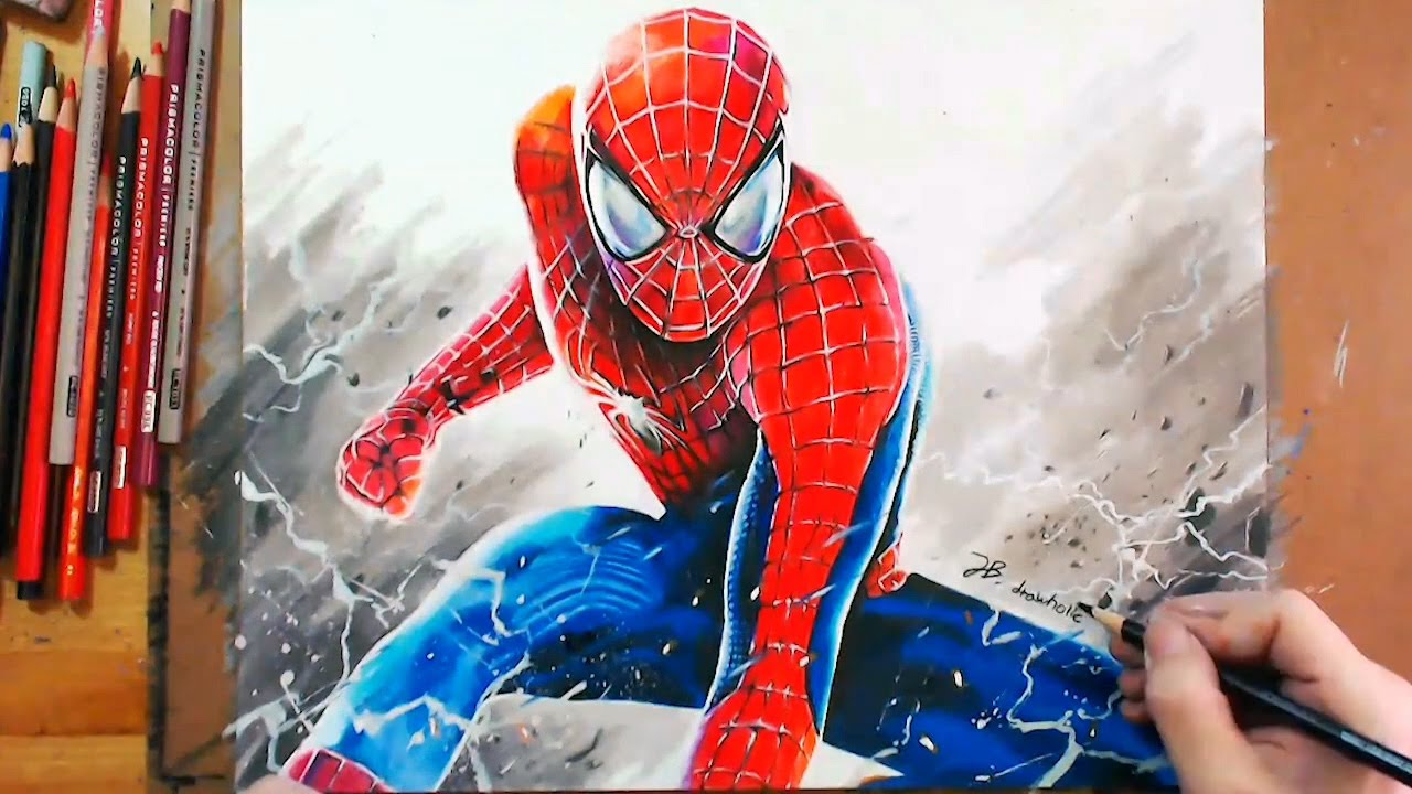 speed drawing spider man using colored pencil youtube - Spiderman Drawings To Color