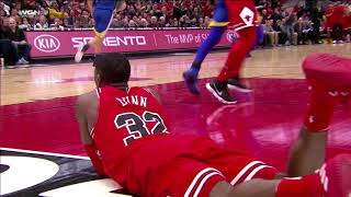 Kris Dunn Nasty Injury, Falls on Face   Bulls vs Warriors