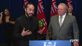 Premier Ford thanks sign language interpreter for his essential work;