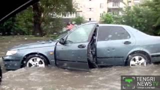 Улицы Алматы затопило после проливного дождя