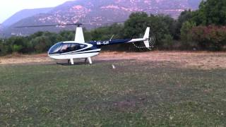 Helicopter with VIP landing in a farm and scare the sheep away, funny