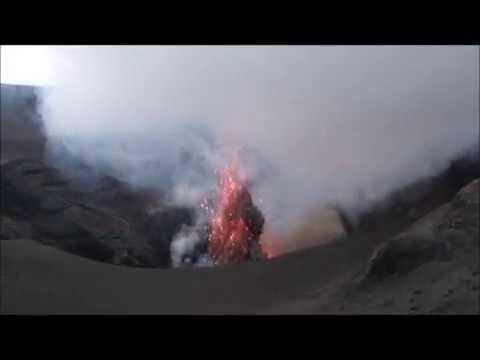 Yasur volcano on level 3 (severe activity with loud explosions and lava bombs)