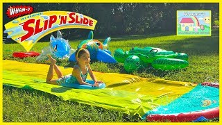 Fun Slip and Slide with Inflatable Shark Toys for Kids! Outdoor Play