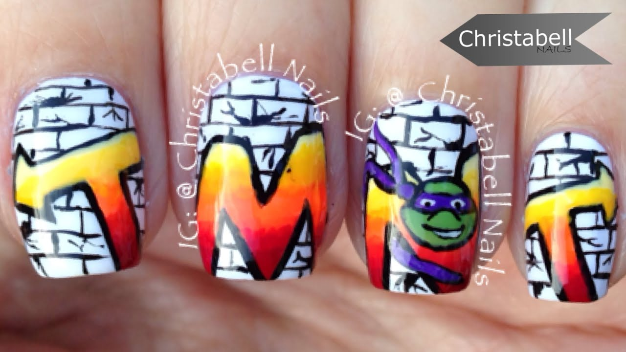 Teenage Mutant Ninja Turtle TMNT Graffiti Nail Art - YouTube