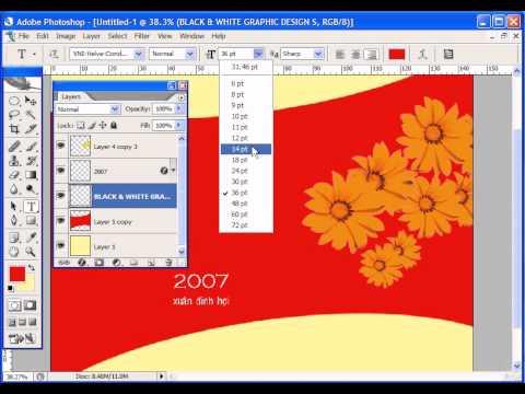 Photoshop CS2 - Phan 21 - Bai 4 - Thiet ke bao thu thiep xuan