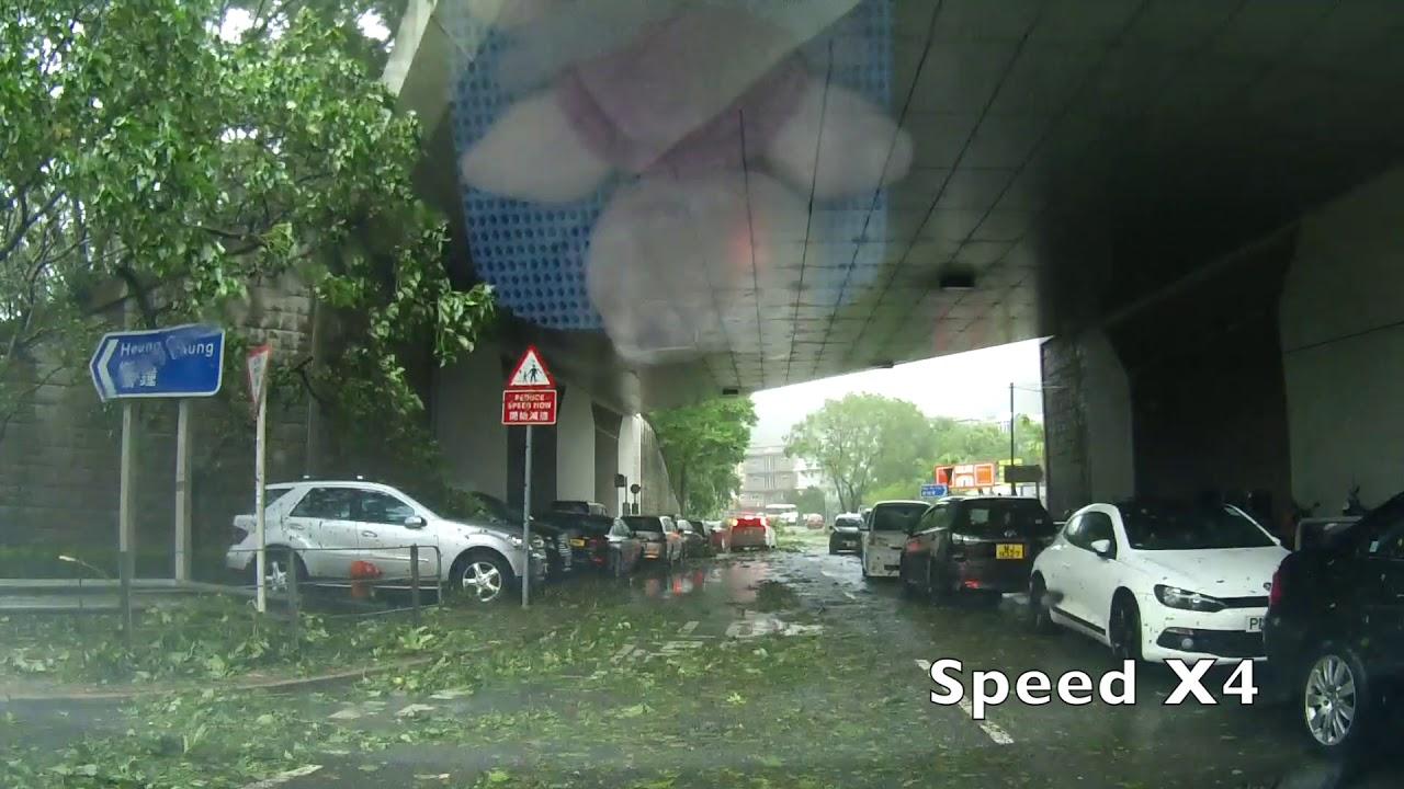 超強颱風山竹在10號風球下嘗試開車返工 - YouTube