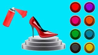 Learn Colors Disney Princess High Heels Painting Colors Finger Family Song Nursery Rhymes for Kids