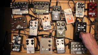 Comparison of 16 overdrive and fuzz pedals used with bass