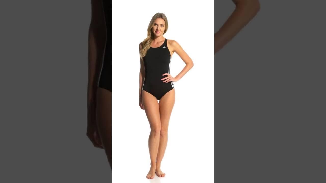 baa98236cd9 Adidas Women's 3-Stripe One Piece Swimsuit | SwimOutlet.com - YouTube