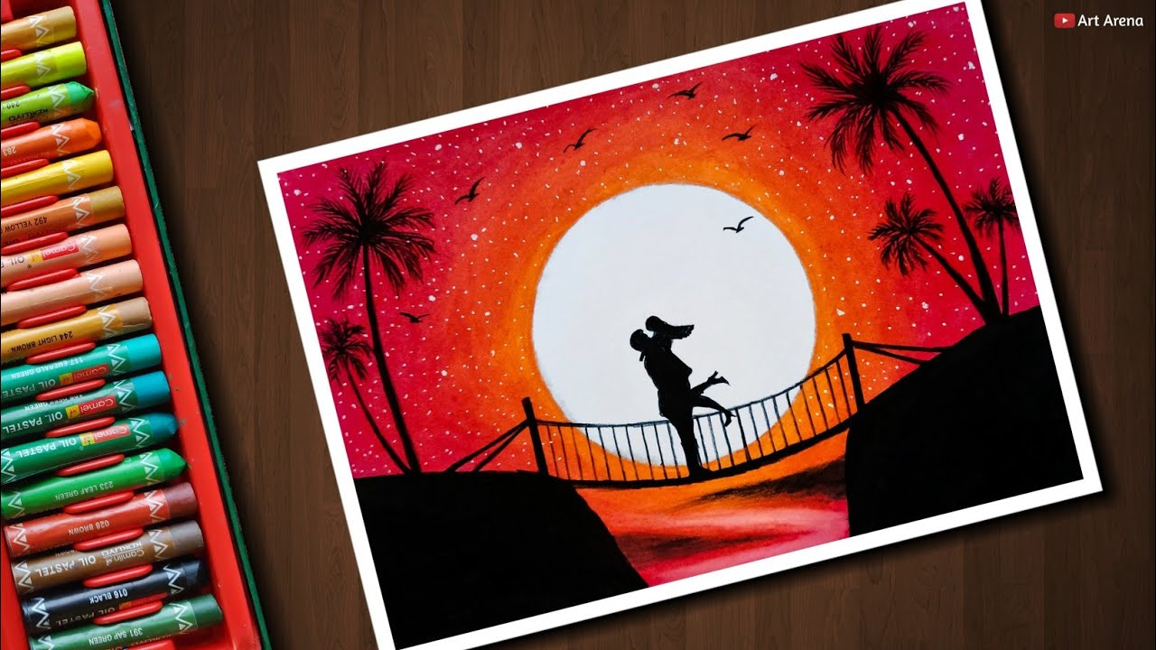 Couple On Bridge Scenery Drawing With Oil Pastels Step By Step