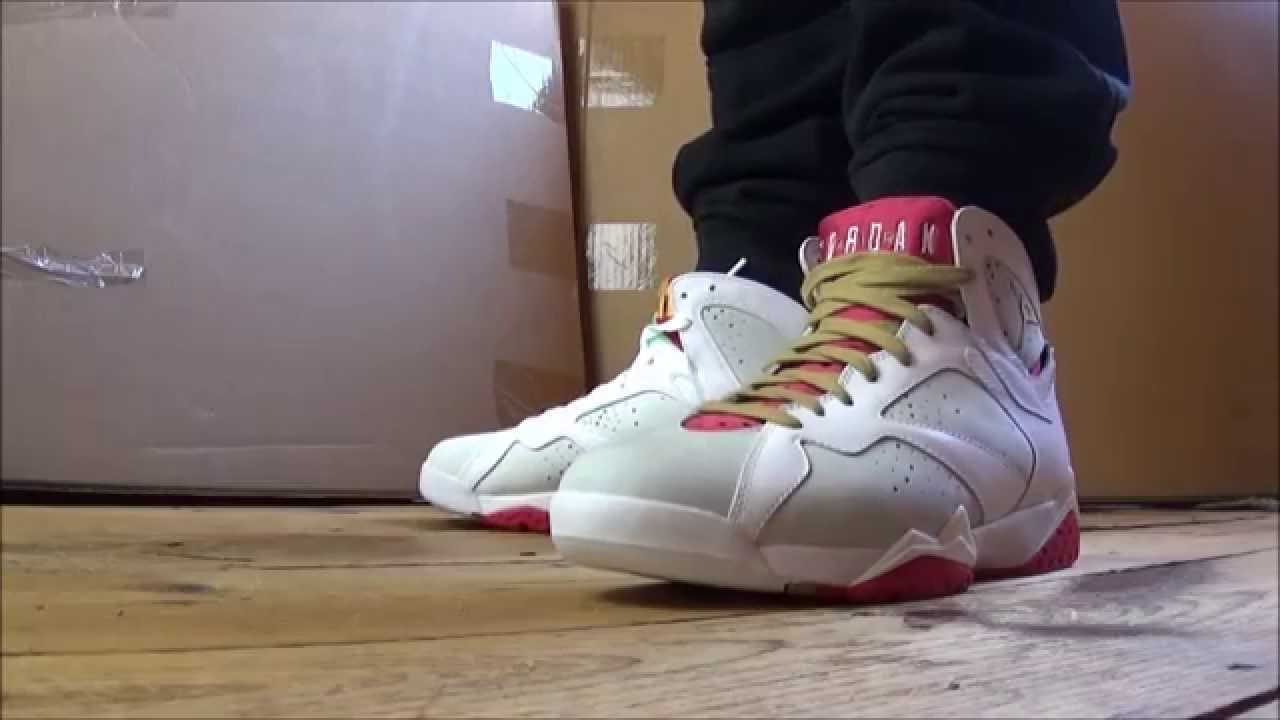 ac393de7522e Air Jordan 7 Hare VS Year Of The Rabbit Sneakers On Feet With  DjDelz