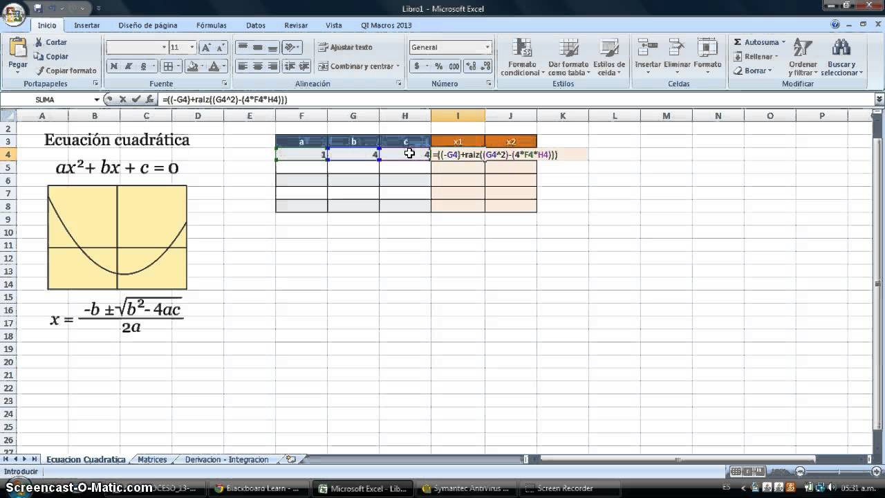 Como resolver ecuación cuadratica en Excel - YouTube
