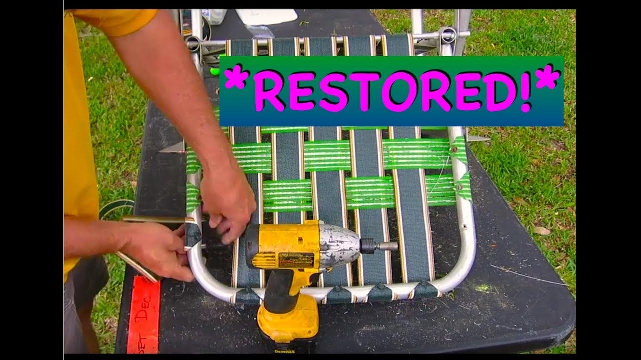 lawn chair restore new webbing diy